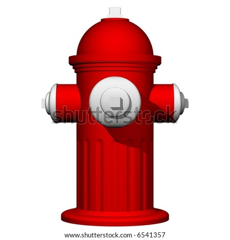 Perfect fire hydrant isolated on white - stock photo