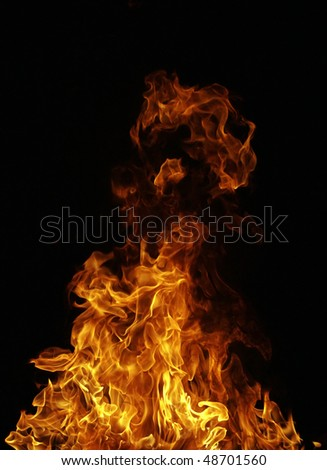 perfect fire on black background - stock photo