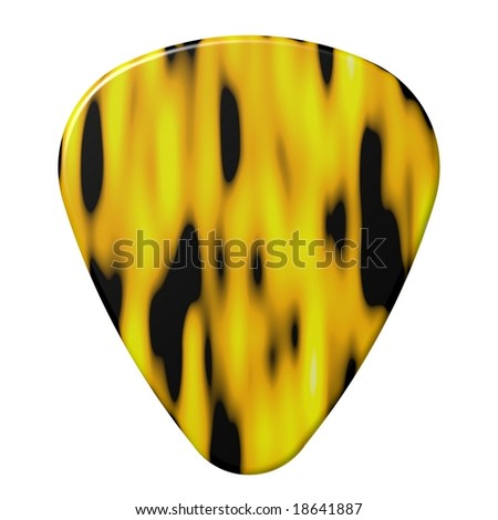 Perfect flame design guitar pick isolated on white - stock photo