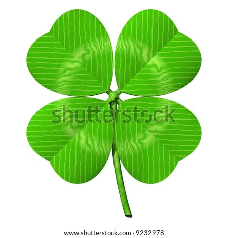 Perfect four-leaved clover isolated on white - stock photo