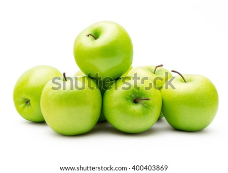 Perfect Fresh Green Apple Isolated on White Background in Full Depth of Field with Clipping Path.