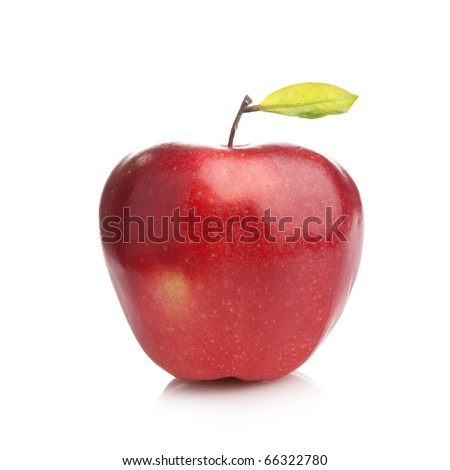 Perfect fresh red apple with green leaf  on white background - stock photo