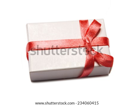 Perfect gift box with red bow. Isolated on white background - stock photo