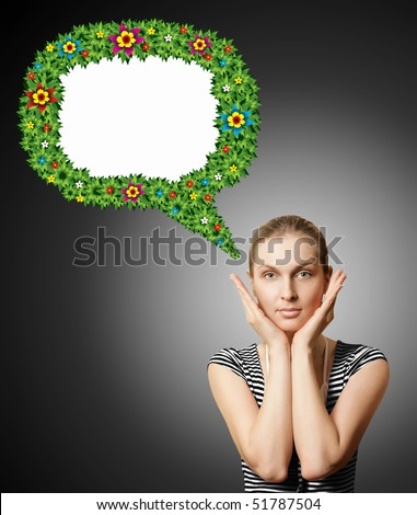 perfect girl with beautiful make up with bubble isolated on white background - stock photo