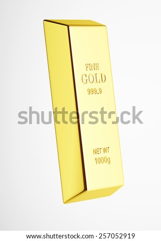 Perfect gold bar on white background 3d render - stock photo