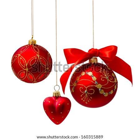 Perfect golden christmas balls isolated on white background