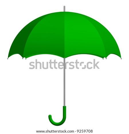 Perfect green umbrella isolated on white - stock photo