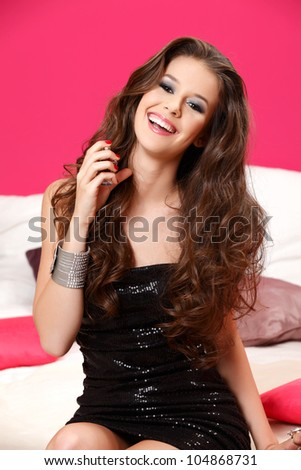 perfect hair, make up, dress, scent, smile - stock photo