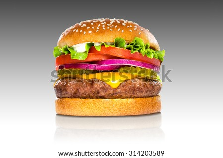 Perfect hamburger classic burger american cheeseburger isolated on gradient reflection - stock photo