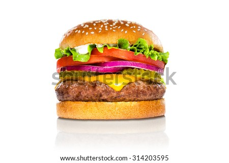 Perfect hamburger classic burger american cheeseburger isolated on white reflection - stock photo