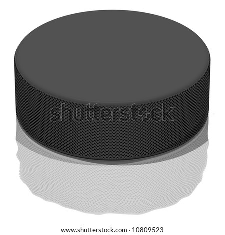 Perfect hockey puck on the ice, isolated on white - stock photo