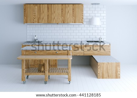 Perfect idea for kitchen interior design with wooden furniture. Front view. 3d render