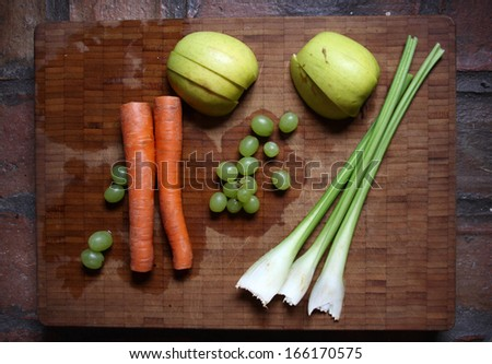 Perfect ingredients to make a healthy juice - stock photo