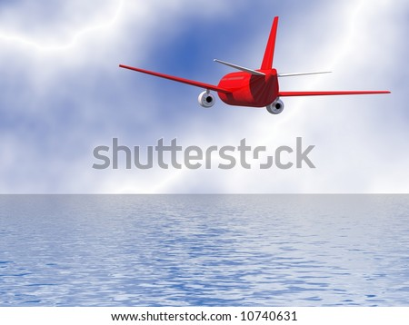 Perfect jet airliner flying into the horizon