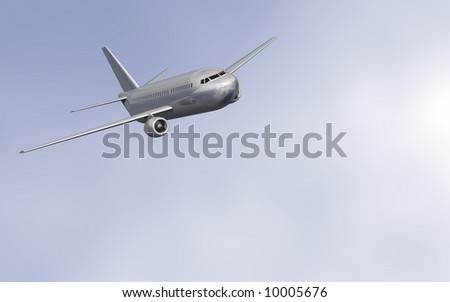 Perfect jet airliner in flight
