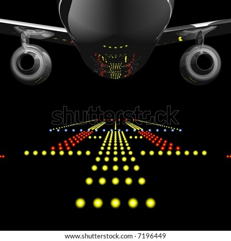 Perfect jet airliner reflecting the runway lights in it's fuselage - stock photo