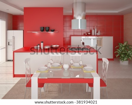 Perfect kitchen with red background, 3d rendering. - stock photo