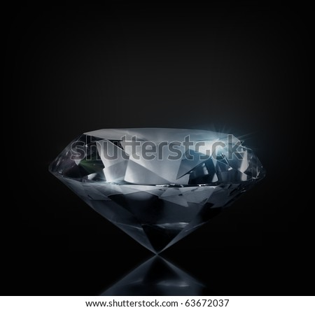 Perfect large diamond on a black background. Isolated - stock photo