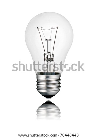 Perfect Lightbulb - Lightbulb with Reflection Isolated on White Background. Photo of Ordinary Switched Off Screw Lightbulb Over White - stock photo