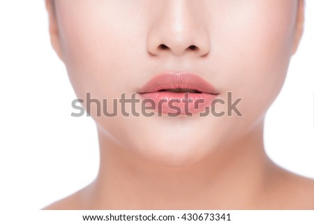 Perfect Lips.Neck chin cheeks. Sexy Girl Mouth close up. Beauty young woman Smile. Natural plump full Lip. Lips augmentation. Close up detail - stock photo