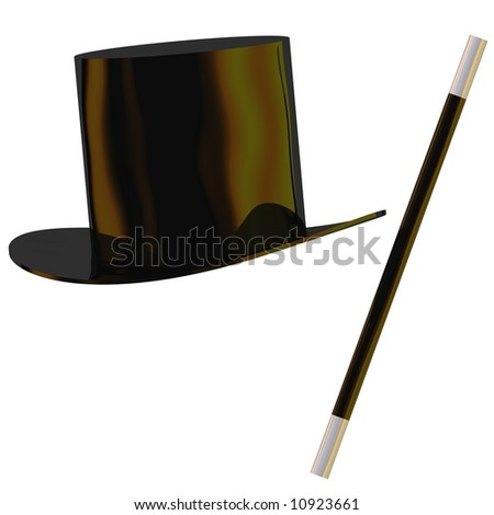 Perfect magician's hat and wand isolated on white - stock photo