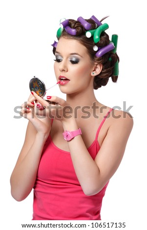 perfect makeup for the party is almost ready - stock photo