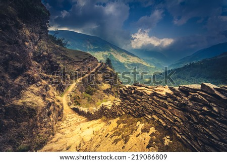 perfect mountain trail in the Himalaya, Nepal - stock photo