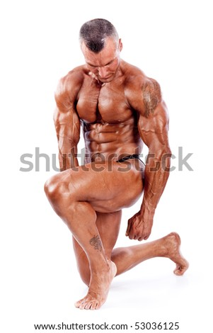 perfect muscle man isolated on white - stock photo