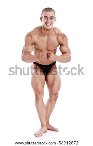 perfect muscle man isolated on white background - stock photo