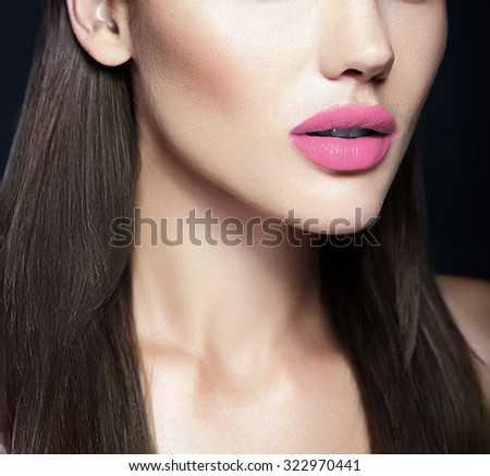 Perfect natural Lips of sexy beautiful girl model - stock photo