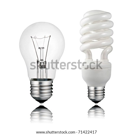 Perfect Normal and Saver Lightbulb with Reflection Isolated on White Background - stock photo
