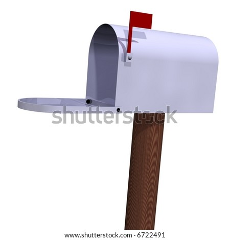 Perfect open mailbox isolated on white - stock photo