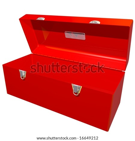 Perfect open toolbox isolated on white - stock photo