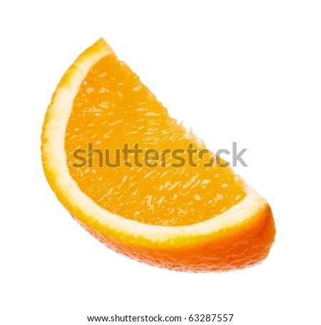 Perfect orange slice isolated on white background - stock photo