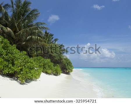 Perfect paradise beach in the Maldives. - stock photo