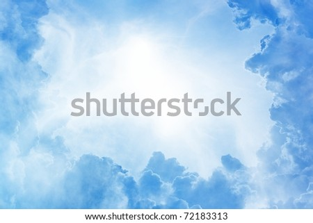 Perfect peaceful view - blue sky, white clouds, bright sun - stock photo