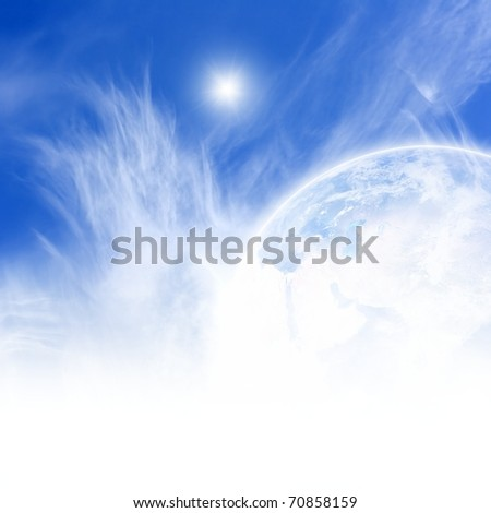 Perfect peaceful view - planet Earth in blue sky, white clouds, bright sun - stock photo