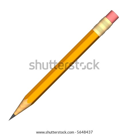 perfect pencil isolated on white - stock photo