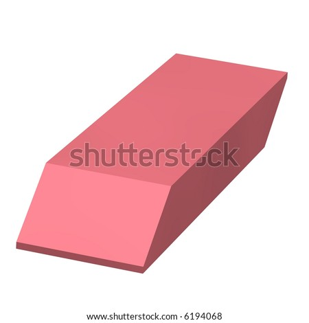 Perfect pink eraser isolated on white
