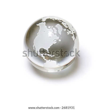 Perfect planet - crystal ball globe. Isolated on white with soft shadow.