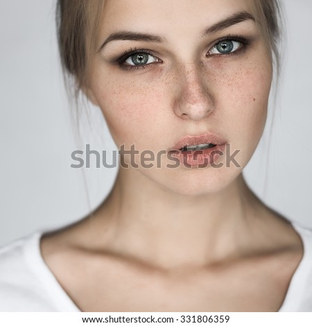 perfect portrait of a pretty girl with natural makeup closeup - stock photo