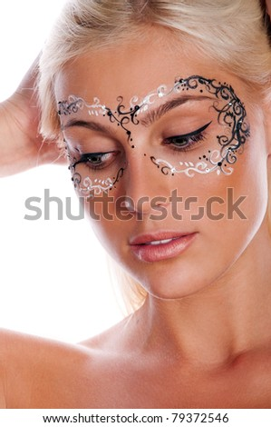 perfect portrait of pretty blond woman with mask on face - stock photo