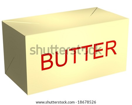 Perfect pound of butter isolated on white - stock photo