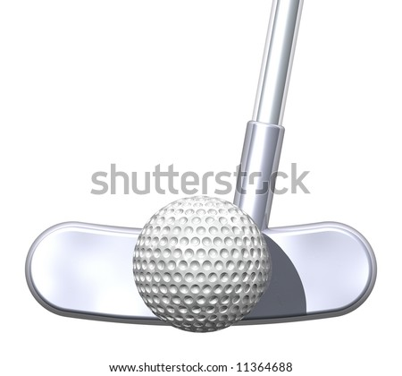Perfect putter striking a golf ball isolated on white - stock photo
