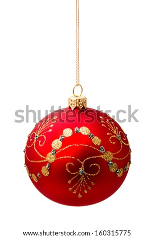 Perfect red christmas ball isolated on white background