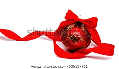 Perfect red christmas ball with ribbon isolated on a white background