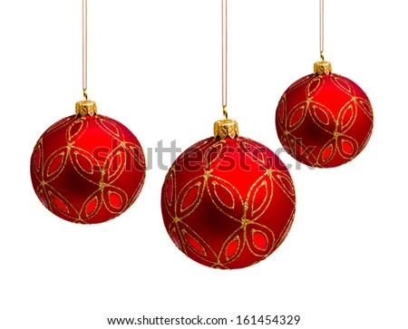 Perfect red christmas balls isolated on white background - stock photo