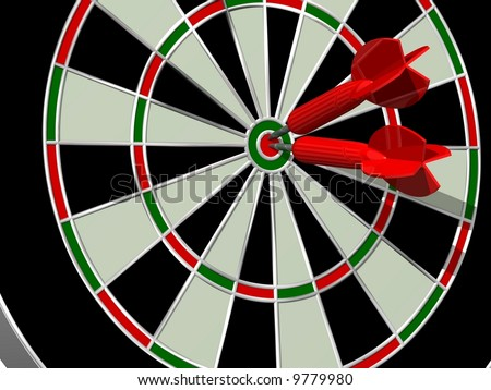 Perfect red darts striking bullseye - stock photo
