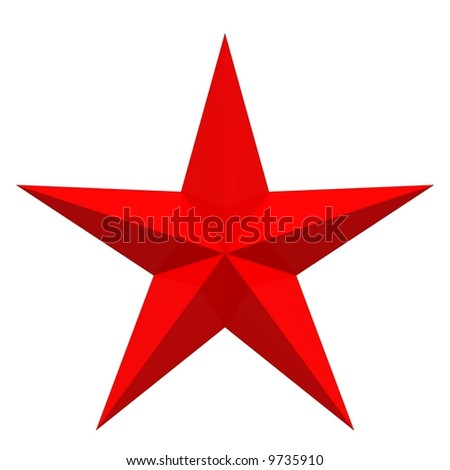 Perfect red star isolated on white - stock photo