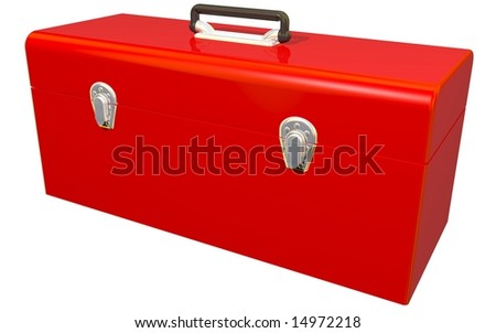 Perfect red toolbox isolated on white - stock photo
